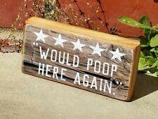 """Mini Wood 5 Stars Would Poop Here Again Sign,  Bathroom Shelf Sign Block 2.5""""X5"""""""