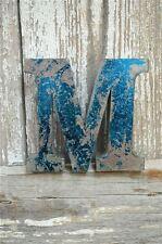 Fantastico STILE VINTAGE METALLO 3D Blue M lettera font shop sign targa a muro