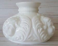 """Vtg Milk Glass Embossed Angel Cherub Face Hurricane Lamp Light Shade (7"""" base)"""