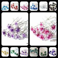 20 PCS Bridal Wedding Crystal Diamante Rose Flower Hair Pin Hair Clip Accessory
