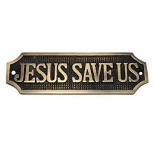 Antique Brass JESUS SAVE US Sign plate-Dimension190.70mm x 52.50mm free shipping