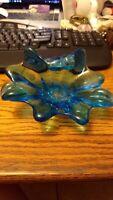 Vintage Fenton Art Glass Turquoise Blue Ashtray or Trinket Dish