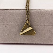 Bronze Small Band Harry Style Paper AirPlane Pendant Necklace Unisex Chain