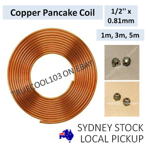 """# 1m, 3m, 5m, 1/2"""" x 0.81mm, Copper Pancake Coil, Pipe Tube, with flare nuts"""