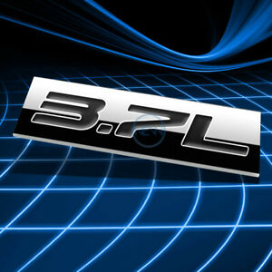 METAL 3D EMBLEM DECAL LOGO TRIM BADGE STICKER POLISHED CHROME BLACK 3.7L 3.7 L