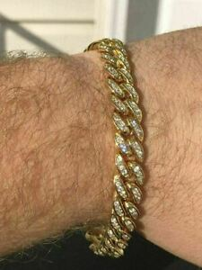 "Mens ICY Cuban Miami Link 8.5"" Bracelet 14k Gold Plated 10mm 5ct Man Diamonds"