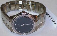 New 0606185 Movado Military Mens 0.90ct.aprx.Diamond bezel & Diamond dial watch.