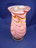 TALL HAND BLOWN GLASS VASE - POLISHED PONTIL -  PINK, RED & YELLOW SWIRL DESIGN