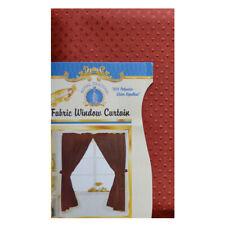 "Rusty Red Double Swag Fabric Window Curtain, 2-Panels w/ Tie Backs/Hooks  55""L"