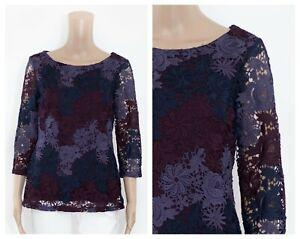 ex M&S Floral Guipure Lace Lined Purple Boat Neck Top