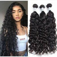 3pcs Curly Brazilian Virgin Human Hair Extensions Wavy Weft Hair Weave Bundles