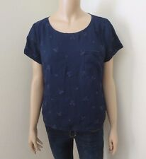 Hollister Womens Floral Eyelet Top Size Large Shirt Blouse Navy Blue