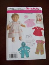 """15"""" BABY DOLL CLOTHES SEWING PATTERN ~ Simplicity #1708"""