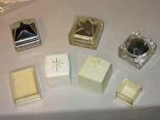 7 Vtg Clear & Ivory Plastic Presentation Ring Jewelry Box Lot some hinged lids