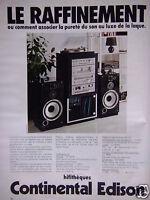 PUBLICITÉ 1978 HIFITHÈQUES CONTINENTAL EDISON - ADVERTISING