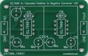 Connect 2x ICL7660 in series get -15V from +5V PCB DIY