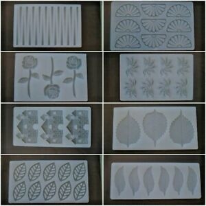 FLOWERS LEAVES ROSE FAN SILICONE SUGAR PASTE MOULD MAT CHOCOLATE CAKE DECORATING