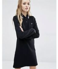 FRED PERRY Black Amy Winehouse Style Tennis Polo Dress UK 10 S M Long Sleeve