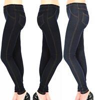 New Ladies Womens Stretchy Denim Look Skinny Jeggings Leggings Plus Size 8-24