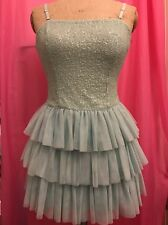 Used Ladies Girls medium Size 8-10 Dress Pastel Green Mint Sequin Strap Ruffle