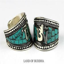 Anillo Ajustable Budista Turquesa Símbolo Om Aum Ring Buddhist Turquoise Symbol