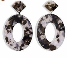 Grey Resin Black Animal Round Fashion Earrings Boho Festival Party Boutique Uk