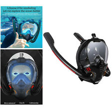 Adult Snorkel Mask Full Face Snorkeling Diving Mask with 180° Panoramic - Black