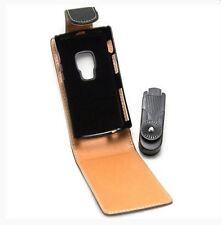 Housse Etui à rabat sur mesure façon cuir noir pour NOKIA N95 8G