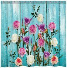 Blue Watercolor Primrose Floral Pretty Boho Farmhouse Fabric Shower Curtain