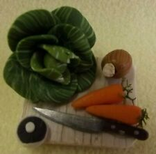 Doll's House 1/12th - Wooden Board with Vegetables - Hand made by Muffin Lodge