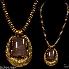 Noble Solid Collier Necklace Pendant Old Gold Look Amber Brown Medallion