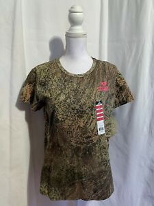 Mossy Oak Brush Women's Small or 2XL Green Short Sleeve Camouflage Tee Shirt NWT