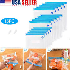 New listing 17pcs/set Reusable Vacuum Bags Food Saver Sealer Ziplock Storage Seal Pouch Bag