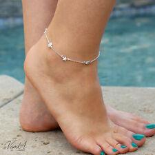 Anklet Adjustable Cute Ankle Bracelet A44 Sterling Silver 925 Star Moon & Sun