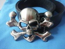 3D TOTENKOPF JOLLY ROGER FLAG PIRATEN KOSTÜM BUCKLE LEDERGÜRTEL
