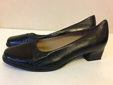 EASY SPIRIT beautiful black soft leather low heel court shoes US 7.5 UK 5.5