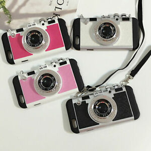Cell Phone Case Camera 3 D Retro Mobile Back Protect Cover With Lanyard Strap