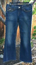 "Women's TRUE RELIGION ""Joey"" STUDDED Jeans Size 29 TWISTED FLARE ⭐️AUTHENTIC"
