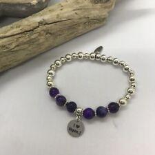 Bracelet - I love Vegan - Agate Stones & Silver plate beads 18cm