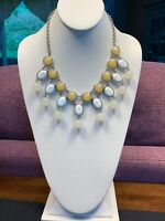 """Statement Necklace Shades Pale Soft Yellow Lucite Beaded Gold Statement Bib 16"""""""