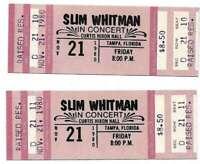 Slim Whitman Concert Ticket Set of 2 1980 Tampa Pink