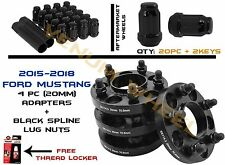 2015-2018 Mustang GT 20mm HubCentric Adapter+ 20pc Black Spline Lug Nuts