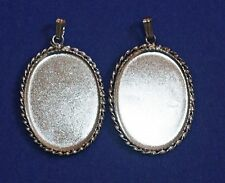 2 Vtg Silver Plate Pendant Settings Findings w/ bails fits 28 x 20mm flat back