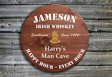 More details for personalised jameson whiskey barrel style wooden pub sign jameson drinkers gift