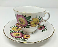 Vintage Royal Vale Bone China Tea Cup and Saucer Pink and Yellow Floral England