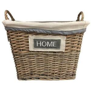FabFinds Vintage Wicker Lined Laundry Basket Organiser Home Storage Bins Large