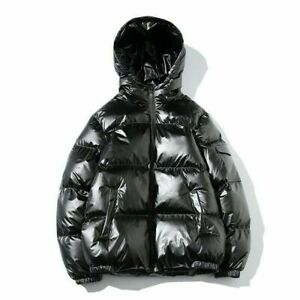 Men Hooded Coat Jacket Parka Puffer Padded Quilted Shiny Winter Warm Silver
