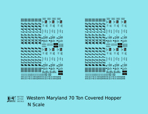 K4 N Decals Western Maryland Cement Covered Hopper Black