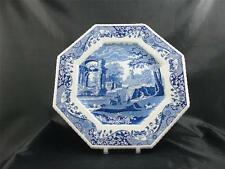 Spode Blue Italian Unusual Scallop Edged Octagonal Plate Made in England   s1643