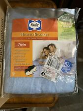 Sealy Heated Plush Blanket Size Twin Machine Wash & Dry Auto Shut-Off Blue